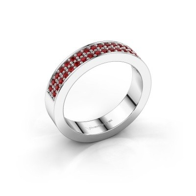 Stackable ring Catharina 4 925 silver ruby 1.3 mm