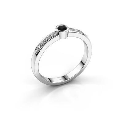 Aanzoeksring Ise 2 925 zilver zwarte diamant 0.17 crt
