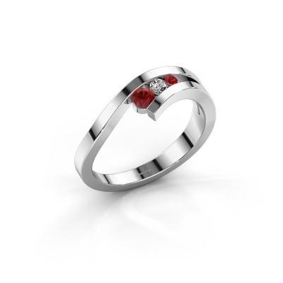 Ring Evalyn 2 925 zilver robijn 2.8 mm
