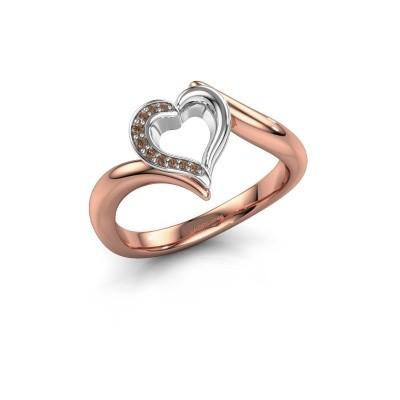 Ring Katlyn 585 rosé goud bruine diamant 0.038 crt