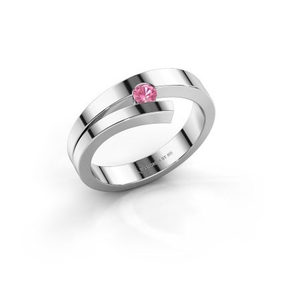 Foto van Ring Rosario 585 witgoud roze saffier 3 mm