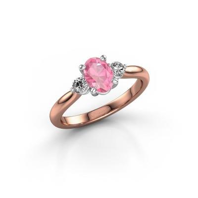 Foto van Verlovingsring Lieselot OVL 585 rosé goud roze saffier 6.5x4.5 mm