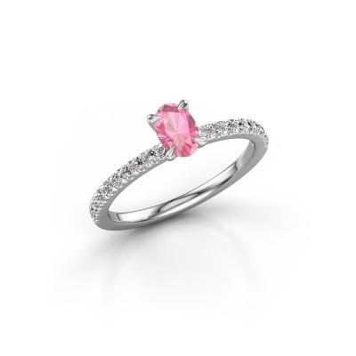 Foto van Verlovingsring Crystal OVL 2 585 witgoud roze saffier 6x4 mm