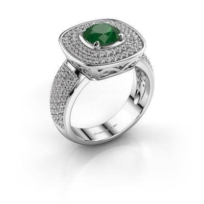 Ring Eliana 585 witgoud smaragd 6 mm