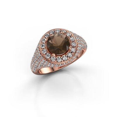 Foto van Ring Dayle 375 rosé goud rookkwarts 7 mm