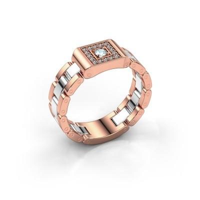 Foto van Heren ring Giel 585 rosé goud aquamarijn 2.7 mm
