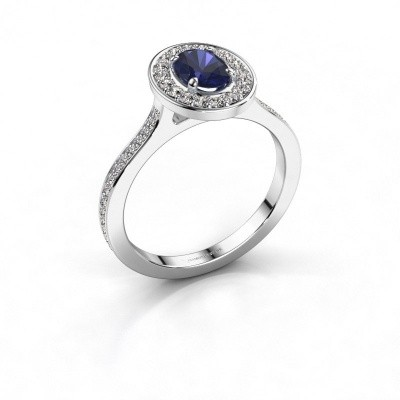 Ring Madelon 2 925 zilver saffier 7x5 mm