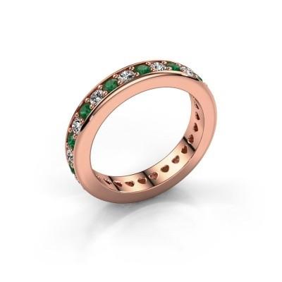 Aanschuifring Nienke 375 rosé goud smaragd 2.2 mm