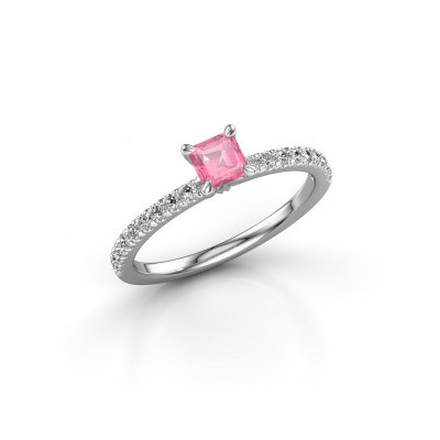 Verlobungsring Crystal ASS 2 950 Platin Pink Saphir 4.5 mm