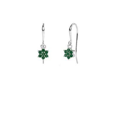Oorhangers Dahlia 1 585 witgoud smaragd 1.7 mm