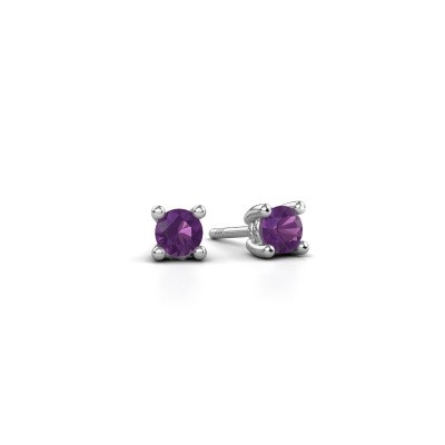 Picture of Stud earrings Sam 585 white gold amethyst 4 mm