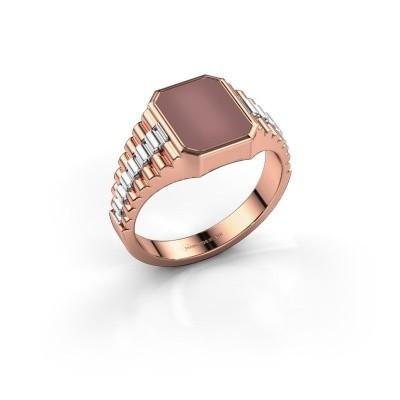 Foto van Rolex stijl ring Brent 1 585 rosé goud carneool 10x8 mm