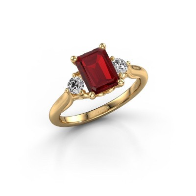 Picture of Engagement ring Laurian EME 585 gold ruby 8x6 mm