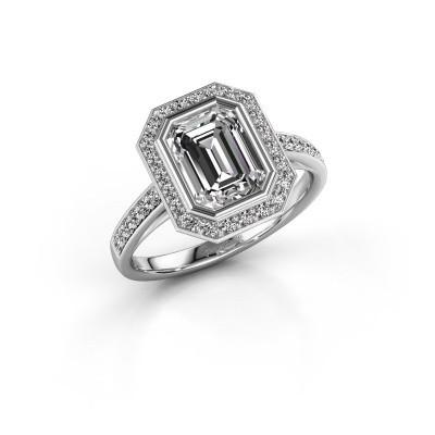 Picture of Engagement ring Noud 2 EME 950 platinum zirconia 8x6 mm