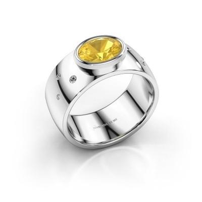 Ring Wilma 2 950 platina gele saffier 8x6 mm