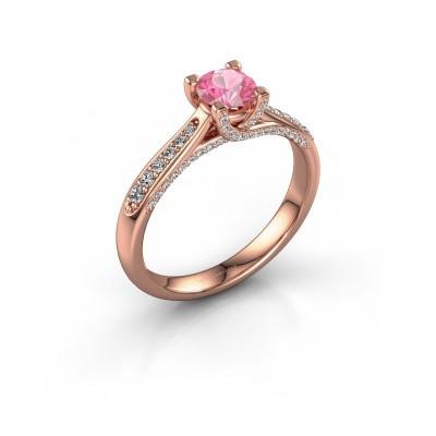 Foto van Verlovingsring Mia 3 375 rosé goud roze saffier 5 mm