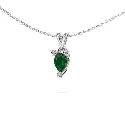 Foto van Ketting Cornelia Pear 585 witgoud smaragd 7x5 mm