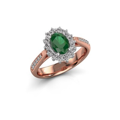 Verlovingsring Margien 2 585 rosé goud smaragd 7x5 mm