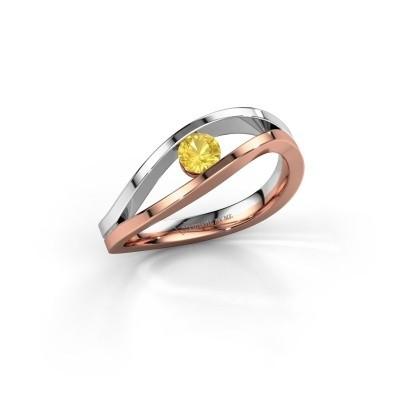 Aanzoeksring Sigrid 1 585 rosé goud gele saffier 3.7 mm
