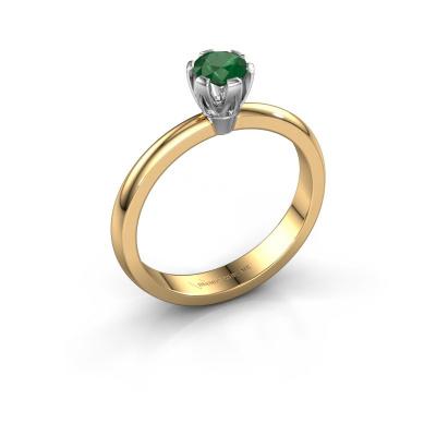 Verlovingsring Julia 585 goud smaragd 4 mm