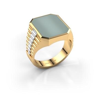 Foto van Rolex stijl ring Brent 4 585 goud groene lagensteen 16x13 mm