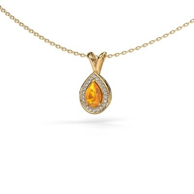 Foto van Ketting Ginger 375 goud citrien 6x4 mm