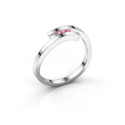 Ring Juliette 925 silver pink sapphire 1.6 mm