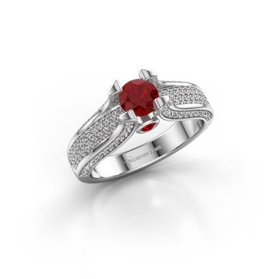 Photo de Bague de fiançailles Jeanne 2 585 or blanc rubis 5 mm