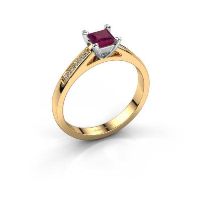Engagement ring Nynke SQR 585 gold rhodolite 4 mm