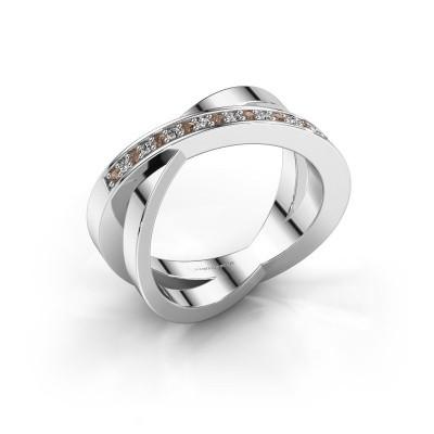 Foto van Ring Julie 585 witgoud bruine diamant 0.143 crt