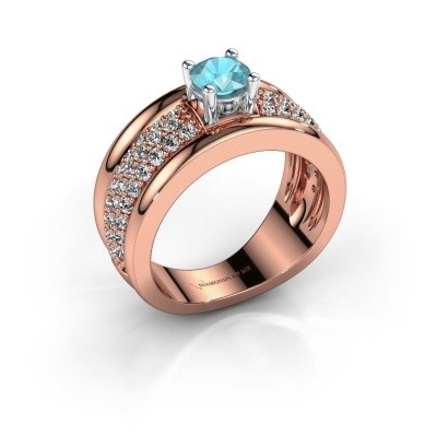 Ring Alicia 585 Roségold Blau Topas 5 mm