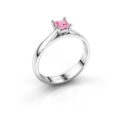 Engagement ring Sam Square 925 silver pink sapphire 4 mm