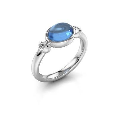 Ring Liane 925 silver blue topaz 8x6 mm