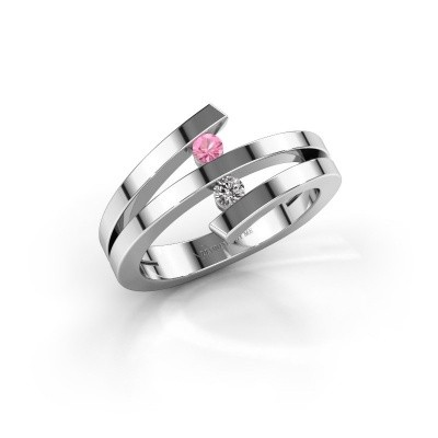Foto van Ring Synthia 925 zilver roze saffier 2.5 mm