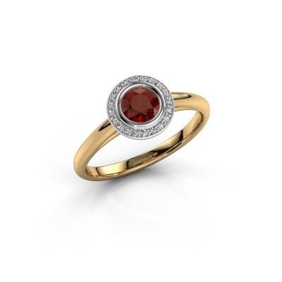 Promise ring Noud 1 RND 585 goud granaat 4.7 mm