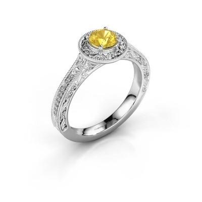 Verlovings ring Alice RND 925 zilver gele saffier 5 mm