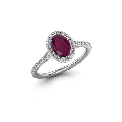 Engagement ring Seline ovl 2 925 silver rhodolite 7x5 mm