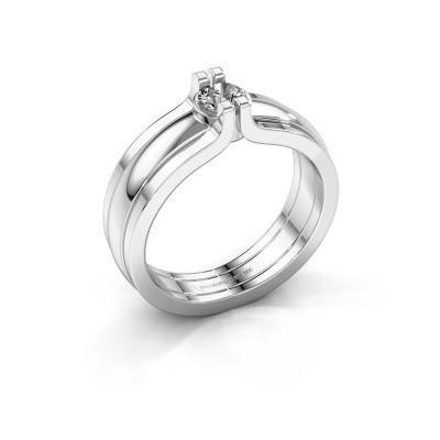 Foto van Ring Jade 925 zilver zirkonia 4 mm