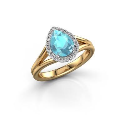 Verlovingsring Verla pear 1 585 goud blauw topaas 8x6 mm