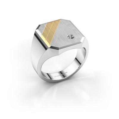 Foto van Zegelring Patrick 5 585 witgoud lab-grown diamant 0.03 crt