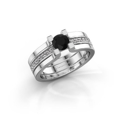 Foto van Verlovingsring Myrthe 585 witgoud zwarte diamant 0.768 crt