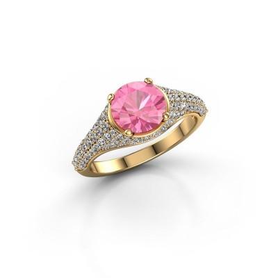 Verlovingsring Lovella 375 goud roze saffier 7 mm