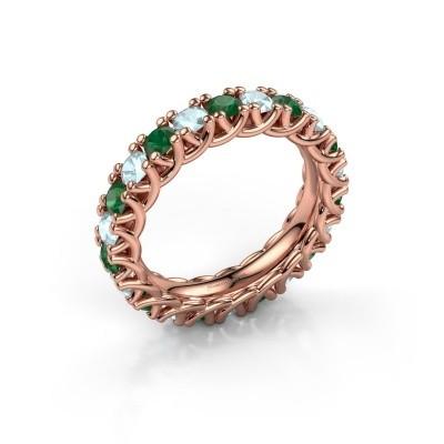 Foto van Ring Fenna 375 rosé goud smaragd 3 mm