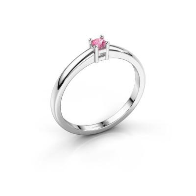 Promise ring Eline 1 585 witgoud roze saffier 3 mm
