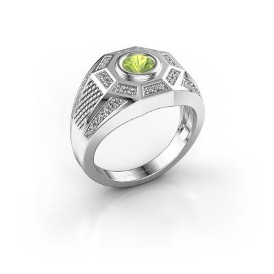 Foto van Heren ring Enzo 375 witgoud peridoot 5 mm