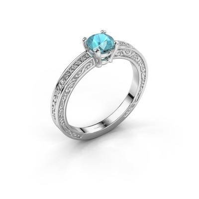 Verlovingsring Claudette 2 585 witgoud blauw topaas 5 mm