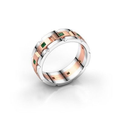 Foto van Heren ring Ricardo 585 rosé goud smaragd 2 mm