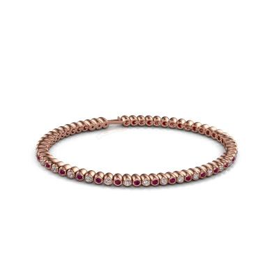 Foto van Tennisarmband Bianca 2 mm 375 rosé goud rhodoliet 2 mm