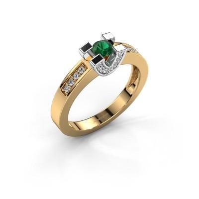 Verlovingsring Jasmijn 2 585 goud smaragd 4 mm