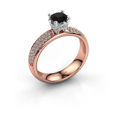 Aanzoeksring Ecrin 585 rosé goud zwarte diamant 1.089 crt